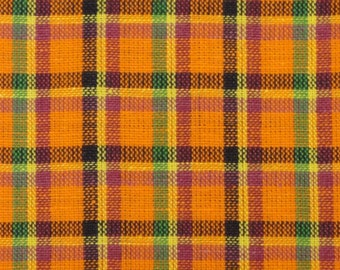 Plaid Material | Homespun Material | Cotton Material |  Orange, Fushsia, Yellow, Navy And Green 1 Yard