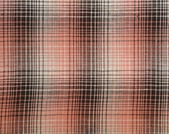 Homespun Fabric | Cotton Fabric | Plaid Fabric | Quilt Fabric |  Rose, Mocha And White LARGE Plaid | 1 Yard