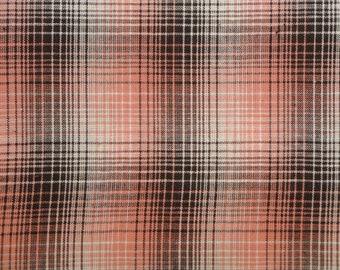 Homespun Fabric | Cotton Fabric | Plaid Fabric | Quilt Fabric |  Rose, Mocha And White LARGE Plaid | 1 Yard