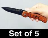 Groomsmen Gifts, Engraved Pocket Knives, Set of 5 Custom Personalized Engraved Pocket Knives with Pakkawood Handle, Wedding Gift, item 7804