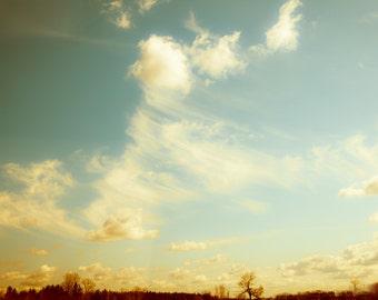 Cloud photography big sky home decor orange summer sunset midwest cottage harvest gold russet teal - Go West 8x12