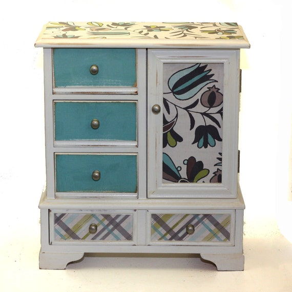 Jewelry Box Upcyled Gray Blue Flowers Plaid