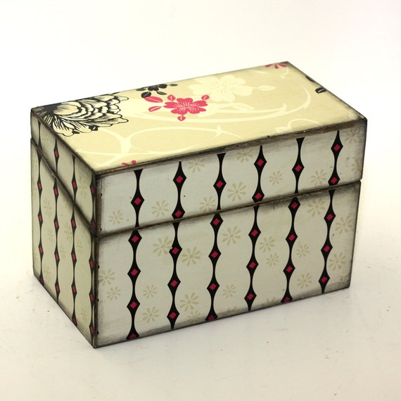 Wood Recipe Box Hot Pink and Black READY TO SHIP Fits 4x6 Cards