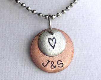 "A Lover's Necklace .. Double Charm Pendant .. 18"" chain and pearl or crystal included . Customize both metal discs . Copper, Silver or Gold"