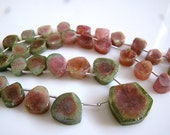 1/2 Strand---Watermelon Tourmaline Smooth and Polished Briolettes