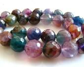 Full Strand----Multi Fluorite Disco Faceted Round Beads