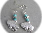 Tiny Buffalo Earrings - Recycled Silver - Eco Friendly