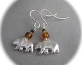 Tiny Bear Earrings - Recycled Silver - Eco Friendly