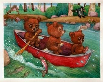 Nursery Bears Print KidsChildrens Art Digital River Forest Nature Decor