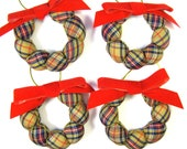 Set of 4 Country Christmas Puff Wreath Ornaments - Tan, Navy and Red Plaid