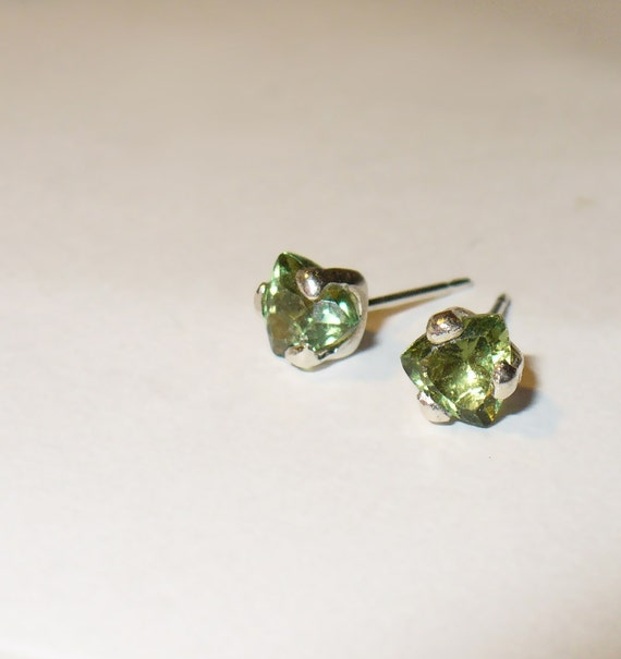 Green Apatite Trilliant Stud Earrings in Solid Sterling Silver
