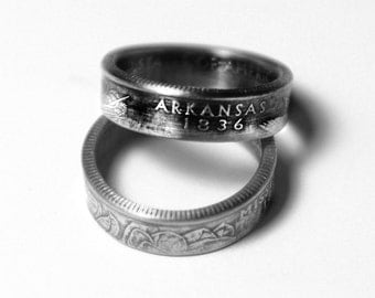 Handcrafted Ring made from a US Quarter - Arkansas - Pick your size