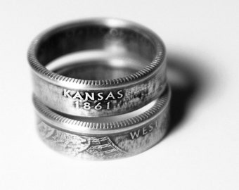 Handcrafted Ring made from a US Quarter - Kansas - Pick your size