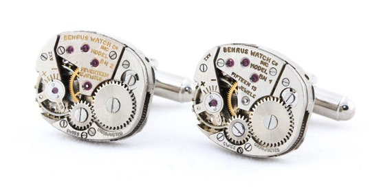 Steampunk Jewelry - Industrial Cufflinks with a Free Gift Box