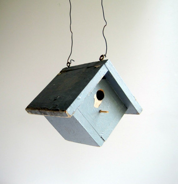 SALE Vintage Birdhouse Rustic Outdoor Garden Decor
