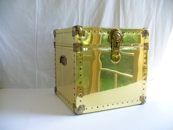 Reserved Vintage Brass Trunk Storage Table Chest By
