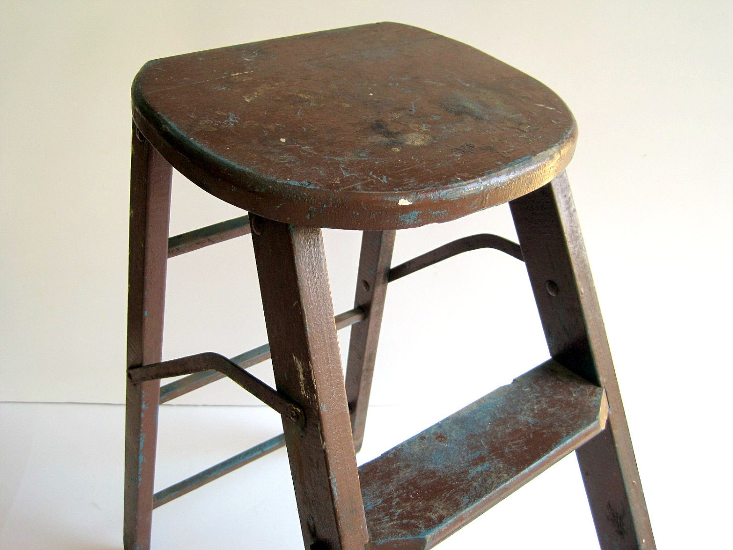 Vintage Wood Step Ladder Rustic Stool Early 20th Century