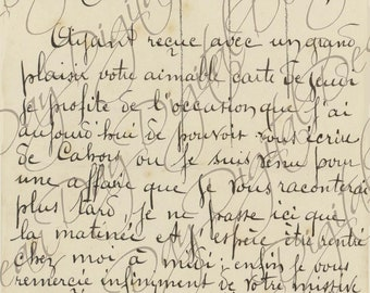French Script Postcard, Ma Bien Chere Berthe, Instant Digital Download FrA130