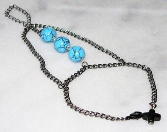 Slave Bracelet, Boho Blue Bracelet, Beaded Bracelets, Hand Bracelet, Body Jewelry, Chain Bracelet, Gypsy Bracelet, Hand Chain, Bohemian