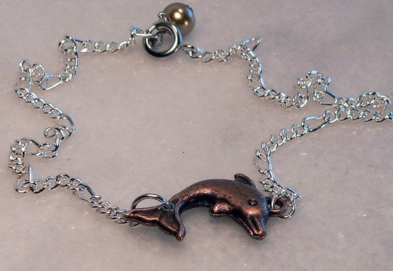 SHOP CLOSING SALE - Ankle Bracelet, Dolphin Charm Anklet, Silver Chain, Body Jewelry