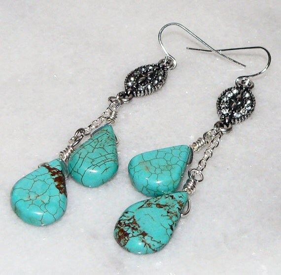Handmade Earrings Chandelier Turquoise Blue Silver Chain Jewelry Chain Dangle Sunrise Designs