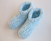 Crocheted Womens Slipper, House Shoes,Cozy Warm,Light Blue Multi, Sizes 4-13,You Pick Size, Ready to Ship, Other Colors Available in My Shop