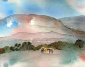 Watercolor Painting Horse Art, Horse Painting, Horse Watercolor, Landscape Watercolor, Mountain Print Titled Mustangs and Mountains