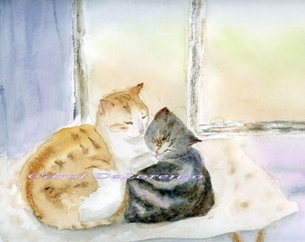 Watercolor Painting Cat Art, Cat Painting, Cat Watercolor, Cat Art Print, Cat Portrait, Pet Art, Print Art Titled Cider and Star