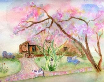 Watercolor Painting, Pink, Horse Art, Horse Painting, Horse Watercolor, Fairy Art, Fairy Garden Art, Horse Art Print Titled Pegasus Garden