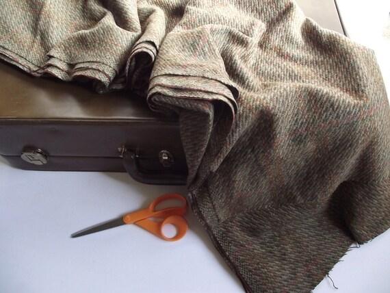 Vintage Wool Fabric Yardage - Olive and Orange Plaid - 62 inches wide