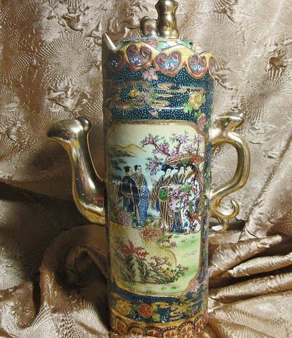 Vintage Oriental Satsuma Moriage Pot