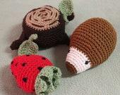 Hedgehog, Strawberry, Tree Stump with Leaf - Crochet PDF Pattern - Cute Amigurumi Gift Idea