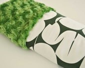 NEW BABY BLANKET Collection..Green minky with forest green and white satin print...Soft and comforting fabrics make a great baby shower gift