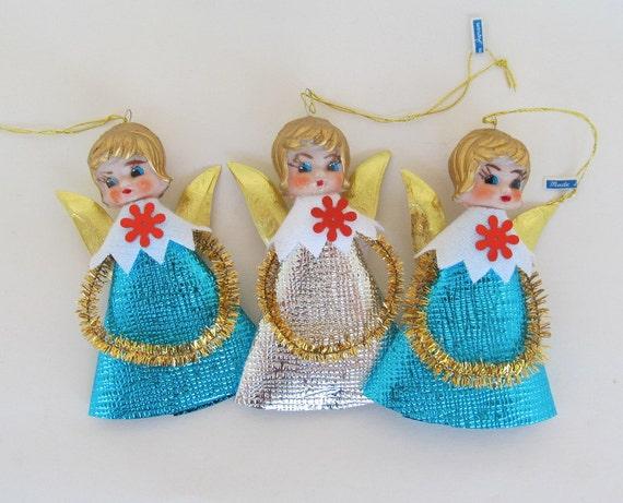 SALE Vintage Shiny Foil Angel Ornaments Japan Set of 3