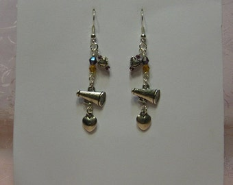 Purple and Gold Crystal, Cheerleader Megaphone Earrings