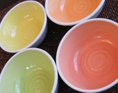 Summer Fruits Soup or Cereal Bowls - Set of 4 Pottery Bowls
