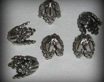 2 Sterling Silver Plated Ornate 9mm Bead Caps (bcs14vjsa905)