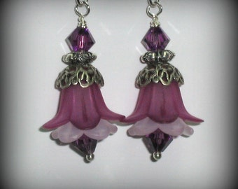 Amethyst and White Flowers, and Swarovski Crystal Earrings in Silver (es16)