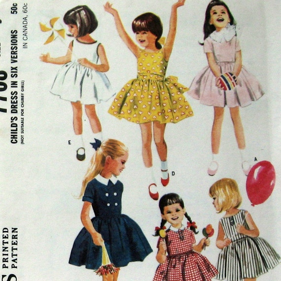 Vintage Girls Dress Pattern 2 Neckline Styles circa 1965 McCalls 7708 Sz5 UNCUT
