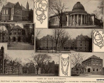 1907 Yale University Edwardian Photogravure Print for Framing