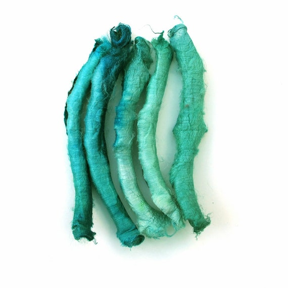 Silk carrier rods - hand dyed - turquoise, pale aquamarine, sea green, ocean