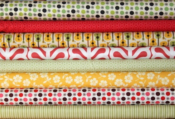 fat eighth bundle (citrus brights)--misc. designers--8 pieces--1 yard total