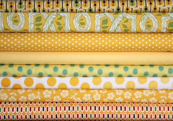 fat quarter bundle (buttery yellows)--misc. designers--8 pieces--2 yards total