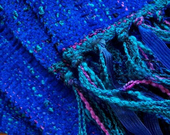 handwoven scarf in azure blue