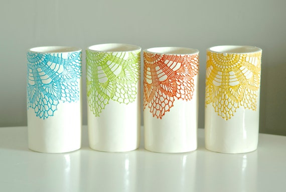 Brights Tumblers set of four, blue green coral yellow