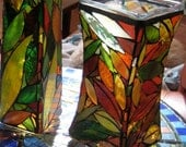 Upcycled Mosaic Autumn Vase Candle Holder with a Waist