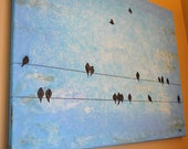 SALE Powder Blue Birds on a Wire 2 Original Painting