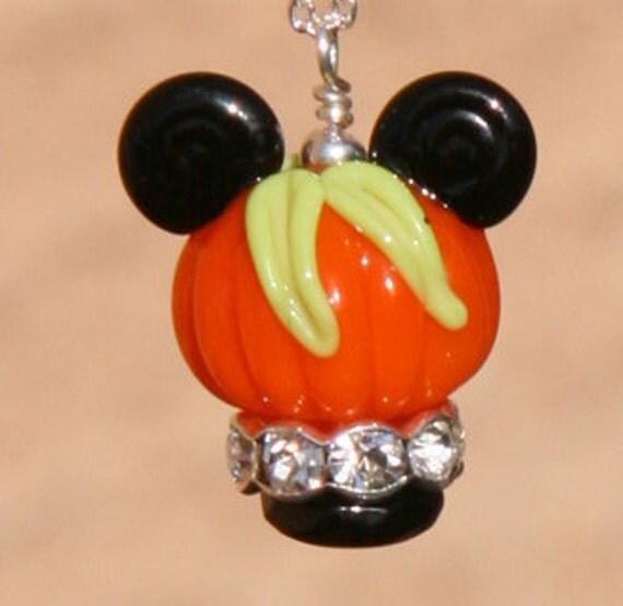 Pumpkin Head Jack O Lantern Mickey Mouse Style Disney Inspired DeSIGNeR Lampwork Necklace Disneyland Halloween Fall Harvest