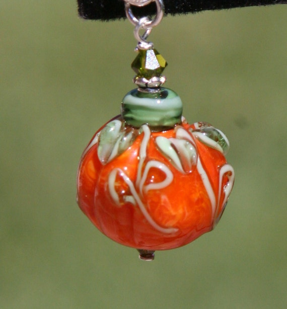 Whimsy Halloween SRA Lampwork Pumpkin Pick of the Patch DeSIGNeR Pendant Sterling Silver Fall Autumn