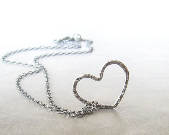 silver heart necklace floating heart pendant necklace rustic heart necklace fine silver sterling silver